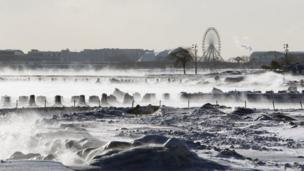 Steam rising from Lake Michigan in Chicago.