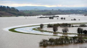 Flooded fields around the River Tone seen from Windmill Hill, Somerset,