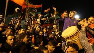 Celebrating Libyan football fans, Tripoli, Libya - Wednesday 29 January 2014
