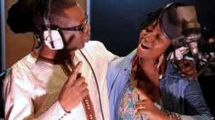 Youssou Ndour (L) and Idylle Mamba (R) singing together in a studio in Dakar, Senegal - Sunday 26 January 2014