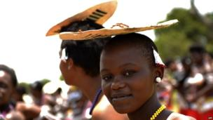 A Shembe follower with a shield on her head, north of Durban, South Africa - Sunday 26 January 2014
