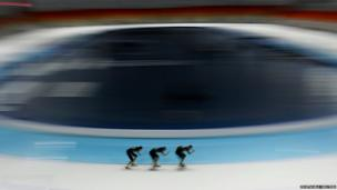 Members of the Japan's speed skating team