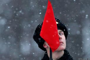 A soldier looks on during a parade marking the 70th anniversary of the battle that lifted the Siege of Leningrad in St.Petersburg
