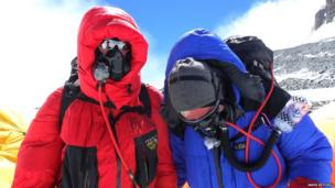 James and a fellow climber on Mount Everest