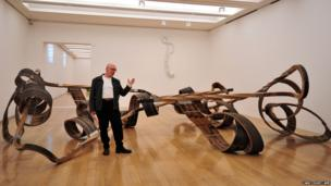 British artist Richard Deacon poses next to his installation piece entitled Out of Order 2003