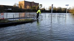 The River Avon in Bristol, floods surrounding roads.