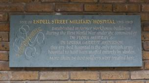 Memorial plaque to Endell Street Military Hospital
