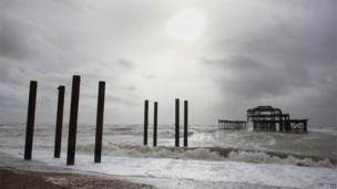 Brighton pier damaged by bad weather