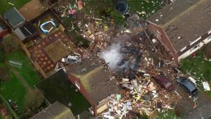 Aerial view of explosion and fire in Cloes Lane, Clacton