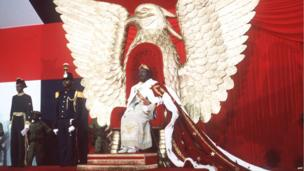 Jean-Bedel Bokassa on this day he was crowned emperor on 4 December 1977, Bangui, Central African Republic