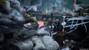 An anti-government protester stands on a barricade in Kiev
