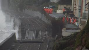 Damaged railway tracks in Dawlish UK. Photo: Jo Hotchkiss