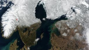 Nasa satellite image of Scandinavia.