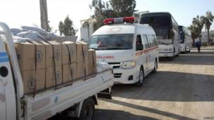 Aid entering besieged area of Homs, 9 Feb 14