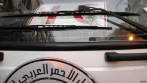 Bullet hole in the glass of a truck carrying humanitarian aid in Homs city, 8 Feb 2014