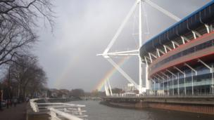 Two rainbows behind Cardiff's Millennium Stadium