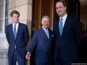 Britain's Prince Charles (centre) with his sons Prince William (right) and Prince Harry pose for the media outside Lancaster House
