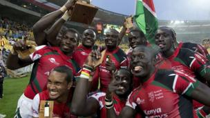 Kenya sevens rugby players celebrating in Wellington, New Zealand - Saturday 8 February 2014