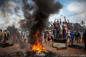 Demonstrators gather on the streets of Bangui, November 2013