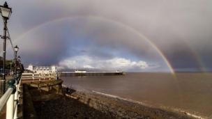 Double rainbow over Penarth Pier