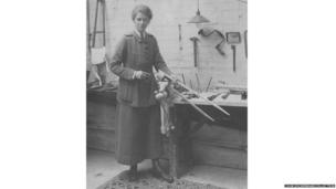 Nancy Cook making a prosthesis for a leg amputee at Endell Street Military Hospital during World War One