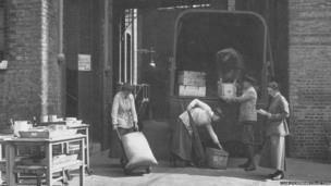 Unloading stores under direction of Quartermaster, Olga Campbell, at Endell Street Military Hospital during World War One