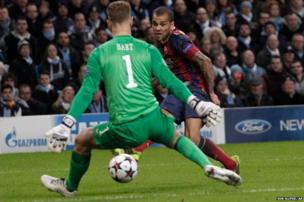 Barcelona's Daniel Alves scores against Manchester City
