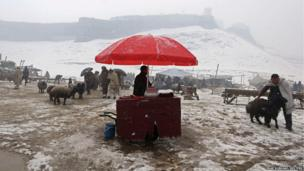 An Afghan man sells food as he waits for customers at an animal market during a snowy day in Kabul