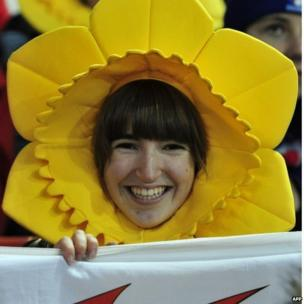 Wales fan waiting for the Six Nations match with France to get under way