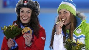 Switzerland's Dominique Gisin on the left and Slovenia's Tina Maze