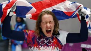 Lizzy Yarnold celebrating