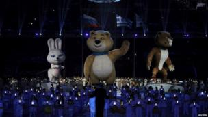 The Russian Olympic mascots - Zaika (the dore hare),Bely Mishka (polar bear) and Snow Leopard (leopard).