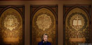 Former US Secretary of State Hillary Clinton speaks during the presentation of the Hillary Rodham Clinton Awards for Advancing Women in Peace and Security at Georgetown University in Washington