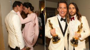 Matthew McConaughey with Camilla Alves (left) and Jared Leto (right)