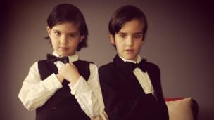 Antonio and Isaac Armstrong from Altrincham are dressed up as their favourite spy James Bond