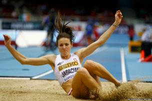 Poland's Anna Jagaciak competes in the women's triple jump