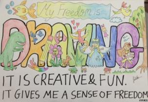 """Drawing with the words: """"My freedom is drawing. It is creative and fun. It gives me a sense of freedom."""""""