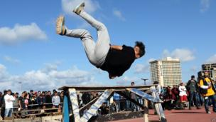 A Libyan practitioner of parkour, an extreme sport
