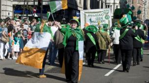 St Patrick's Day parade in central London