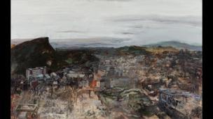 Catharine Davison, The Craggs at dawn (from Calton Hill), oil on board, 75 x 120 cm