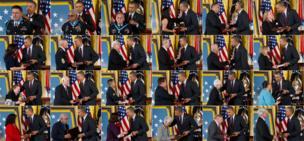 US President Barack Obama presents the Medal of Honor