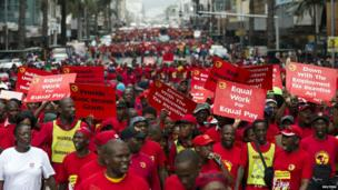 Numsa members protesting through the streets of Durban, South Africa - Wednesday 19 March 2014
