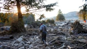 A man looks trawls through the devastated area, amid rubble and fallen trees