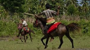 Pasola riders throw their spears