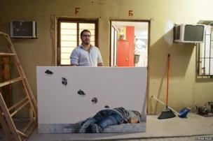 Painter Humberto Ramirez in front of his studio in Reynosa, Tamaulipas, Mexico