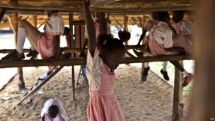 Pupils at play time in the Ephatha Primary School in Juba, South Sudan, on 25 March 2014