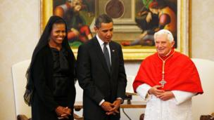 President Barack Obama and first lady Michelle Obama meeting Pope Benedict XVI in the Vatican in 2009