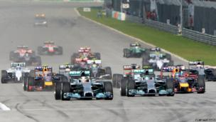 Williams Formula One driver Valtteri Bottas of Finland drives ahead of Red Bull Formula One driver Sebastian Vettel of Germany during the Malaysian F1 Grand Prix.