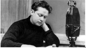 Dylan Thomas making a broadcast taken by the BBC in November 1948.