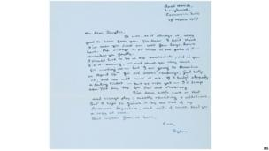 Undated handout image of a letter written in 1953 by Welsh poet Dylan Thomas detailing progress on Under Milk Wood